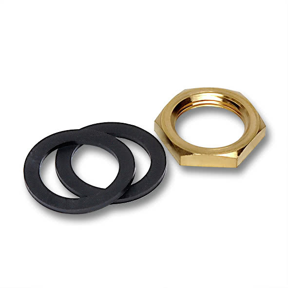912 - Mounting kit wall bushing Brass nut + sealing rings