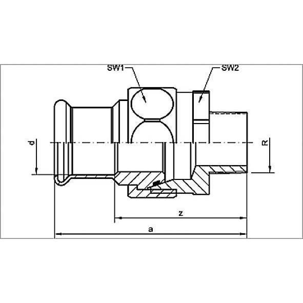11343G - SANHA-Press Gas Union, male,taper sealing Bild 2