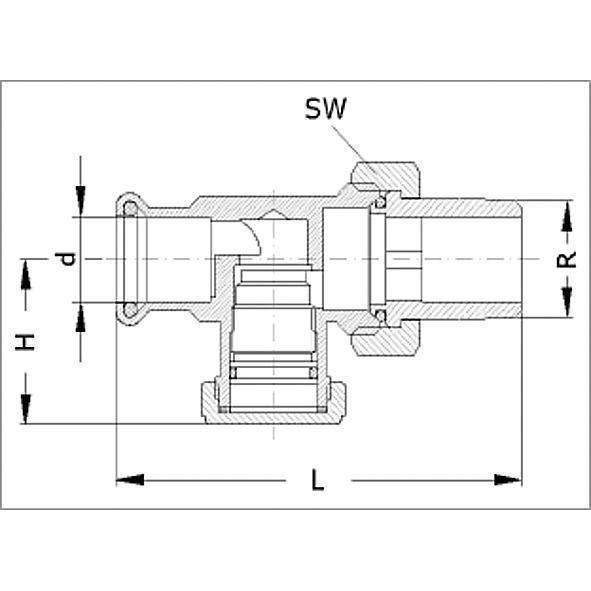 15APV - Radiator unions, passage form forged brass Bild 2